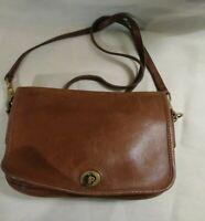 Coach Vintage British Tan Leather Penny Crossbody Turnlock Closure Shoulder Bag