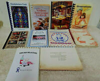 Lot of 10 Community, Jr League, Civic, Church Spiral Cookbooks