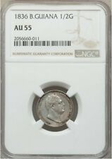 British Guiana 1836 1/2 Guilder NGC AU55 - Subtle toning !