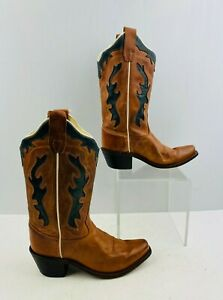 Kids Old West Brown/ Black Leather Snip Toe Western Cowboy Boots Size: 10