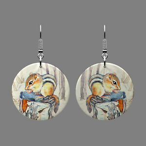 Natural Mother of Pearl Shell Weasel Earrings Round Drop Gift J1706 1702
