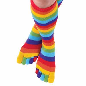 6 Pair Women Stripe Toe Socks - Super Soft Breathable Five Finger Toe Socks