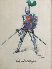 Pierre-Albert LEROUX 1890-1959.Charles d'Anjou.Gouache,aquarelle,encre.SBD.26x20