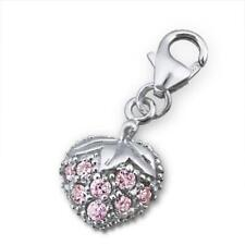 925 Sterling Silver Pink Crystal Strawberry Clip on Charm