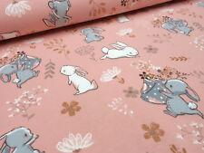 Stoff Baumwolle Jersey Hasen Häschen lachs rosa grau weiß rosa Kinderstoff
