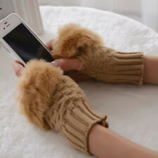 Fashion Winter  Warmer Fingerless Gloves Knitted Fur Trim Gloves Mittens New