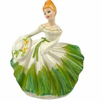 Lefton 5679 Dancing Lady Southern Belle Planter Green & White
