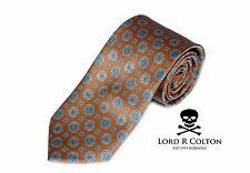 Lord R Colton Studio Tie Orange & Aqua Medallion Woven Necktie $95 New