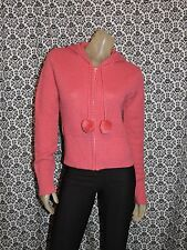 H&M Pink Long Sleeve Hooded Full Front Zip Wool Blend Sweater Womens 12 USED