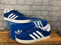 ADIDAS MENS UK 5 EU 38 ROYAL BLUE WHITE SUEDE GAZELLE OG TRAINERS CQ1830