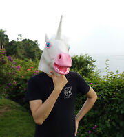 Unicorn Horse Head Mask Latex Prop Animal Full head Cosplay Masquerade Fancy New