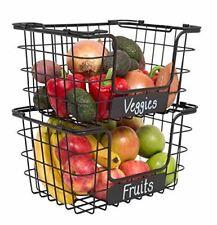 Birdrock Home Stacking Wire Market Baskets with Chalk Label - Set of 2 - Fruit V