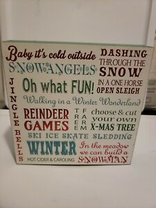 Ashland Merry Memories Christmas Wall Decor Winter Holiday Wooden Plaque Sign