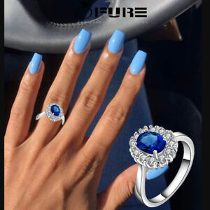 Princess Diana Inspired Blue Sapphire 925 Sterling Silver Filled Ring For Women