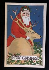 Rare~Art Deco SANTA Claus & Reindeer Beautiful Vintage Christmas Postcard-h455