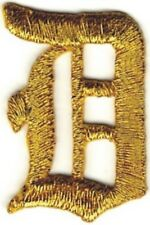 """1 1/8"""" Fancy Metallic Gold Old English Alphabet Letter D Embroidered Patch"""