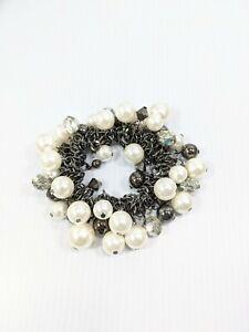 Artisan Gunmetal Gray White Faux Pearl Cluster Charm Bead Stretch Bracelet