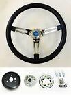 60-69 Chevy C10 Chevrolet Pick Up Steering Wheel Black On Chrome 15 Blue Bowtie