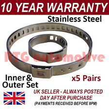 CV BOOT CLAMPS PAIR x5 UNIVERSAL STAINLESS STEEL FITS ALL CARS KIT 1.5