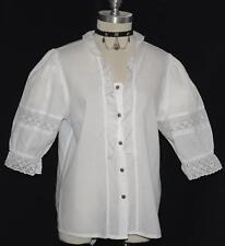 "WHITE EYELET LACE German SHIRT Dirndl Dress FRONT BUTTTON DOWN Western B43"" 16 L"
