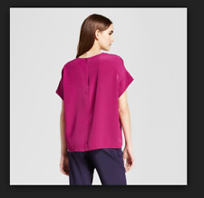 NEW Women's Short Sleeve Top with Seaming Detail - Mossimo Pink XL