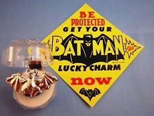 "VINTAGE 1966...""RARE SILVER BATMAN BAT RING"" - L@@K -  BATMAN LUCKY CHARM & SIGN"