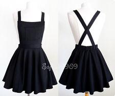 Black Soft Knit Crisscross Suspender High Waisted Pleated CUTE Overall Skirt - M