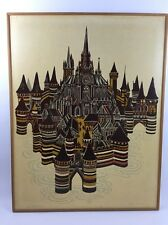 "Lino-Cut Print Gothic Town II Signed By Artist  J Gillick 1970 30"" x 39"""