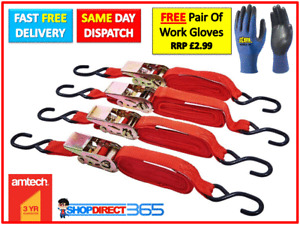 4 x Heavy Duty Ratchet Tie Down Straps 4.5 Metre x 25 mm Recovery Truck NEW S751