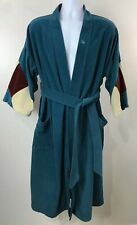 Christian Dior Robe De Chambre One Size Blue Belted Logo Colorblock