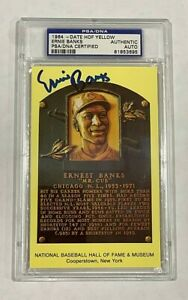 Ernie Banks Signed Gold HOF Plaque Slabbed PSA/DNA Auto Cubs