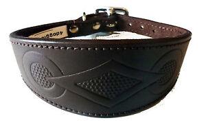 4doggies Brown Retro Design Leather Saluki Collar Afghan Collar Whippet Collars