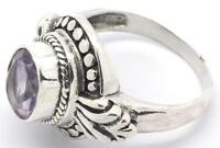 Sterling SIlver Handmade Large Bali Design Carved Oval Ring. See Stone Variation