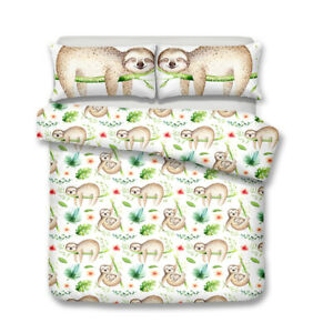 Single/Double/Queen/King Size Bed Doona/Duvet/Quilt Cover Set Sloth Pillowcase