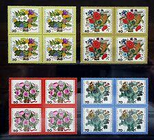 BERLIN 1974 ** MI 473-76 SATZ VIERERBLOCK 4ER BLOCK POSTFRISCH Wohlfahrt Blumen