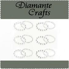 6 Clear Diamante Double Rings Vajazzle Rhinestone Body Art Self Adhesive Gem