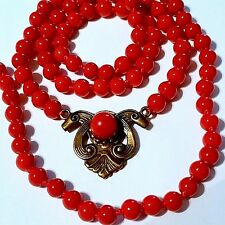 "BEAUTIFUL RED CORAL NECKLACE, 22"" long"