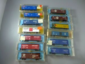 N scale Atlas 40' Boxcars & Reefers 13 Cars