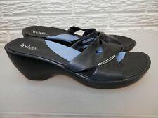 Indigo By Clarks Black Leather Wedge Sandals Size 10