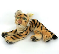 Steiff Tiger Lying Mohair Plush 17cm 7in 1960s ID Button Tag Glass Eyes Vtg