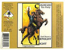 Colorado Tea Party MIDNIGHT LIGHT beer label CO 12 oz