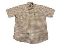 Timberland Organic Cotton Short Sleeve Button Up Blue Plaid Shirt Sz L Outdoor