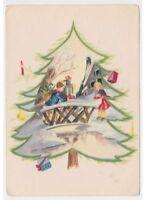 1956 Tarjeta Postal Baby Vintage Fg Niños Regalos Decoración Árbol de Navidad