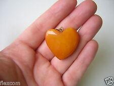 Antiker Karamell Bernstein Herz Anhänger dezente Maserung Old Amber 5,7 g