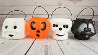 Blow Mold Halloween Treat Bucket/Pail Skull Cat Ghost Alien General Foam Lot x 4