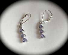 TANZANITE EARRINGS PREMIUM QUALITY SILVER 'CERTIFIED GEMSTONES' STUNNING - BNWT