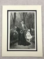 1875 Print Victorian Ladies Young Child Garden Landscape Antique Original