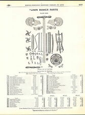 1910 ADVERT Lawn Mower Parts Repair Price List Diagram Bob White Cloud