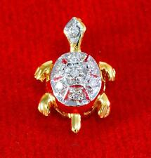9K SOLID YELLOW GOLD Cute Turtle Style Charm Pendant Fine Jewelry, with Diamond