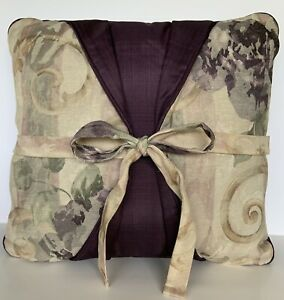 """Croscill Chambord Cassis Purple Roses Floral Throw Pillow 16"""" Discontinued EUC"""